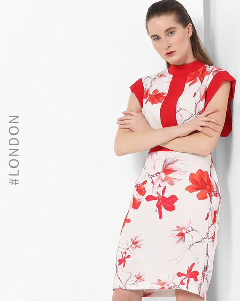 Floral Print Dress With Kimono Sleeves By Closet London ( Multi )