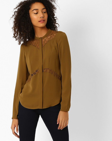 Panelled Shirt With Lace Insets By Vero Moda ( Brown )