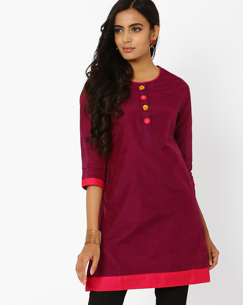 Kurta With Mock Button Placket By AJIO ( Maroon )