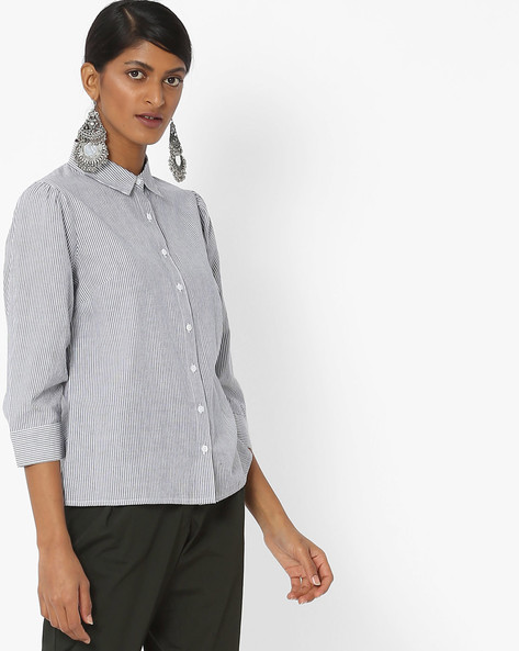 Striped Shirt With Spread Collar By Femella ( Blue )