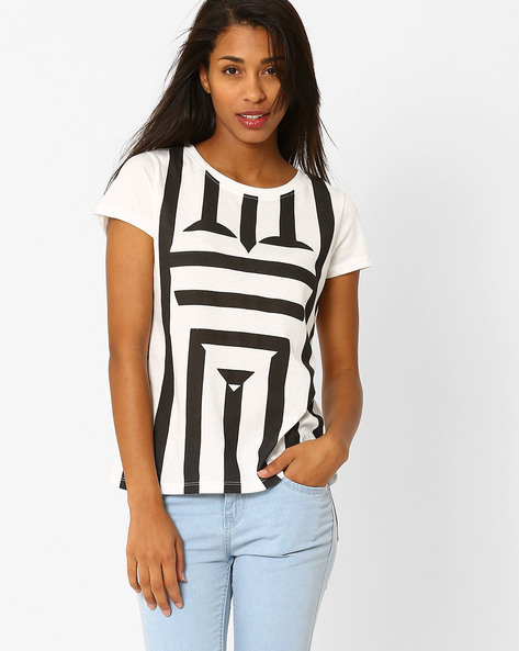 Printed Crew-Neck T-shirt By Vero Moda ( White )