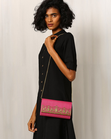 Pure Raw Silk Clutch With Embroidery By Molcha ( Pink )