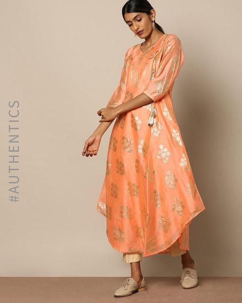 Silk Cotton Foil Print Angarakha Suit Set By Miar Designs ( Multi )
