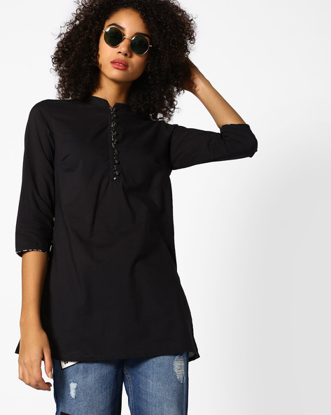 Cotton Tunic With Mandarin Collar By AJIO ( Black )
