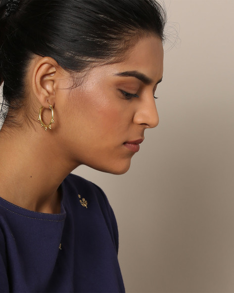 Gold-Plated Designer Hoop Earrings By Rubans ( Gold )
