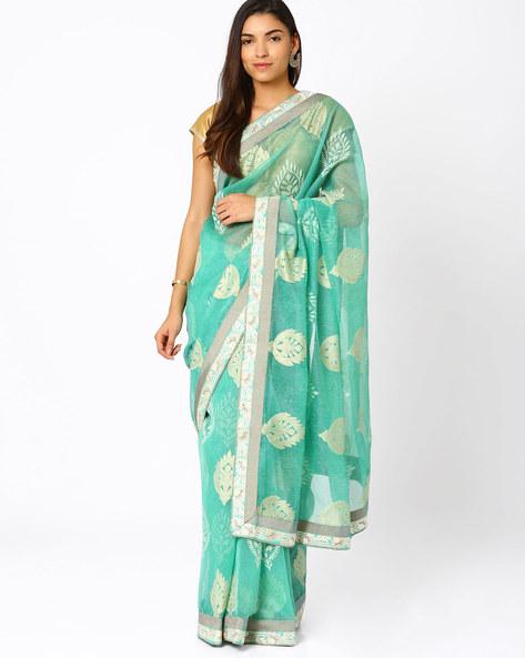 Zari Embroidered Net Saree By Vishal Prints ( Turquoise )