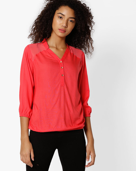Cotton Top With Sheer Yoke By FIG ( Pink )