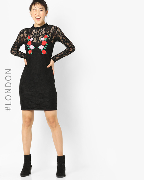Lace Bodycon Dress With Floral Embroidery By Glamorous ( Black )