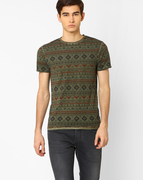 All-Over-Print Slim Fit T-shirt By Jack & Jones ( Olive )