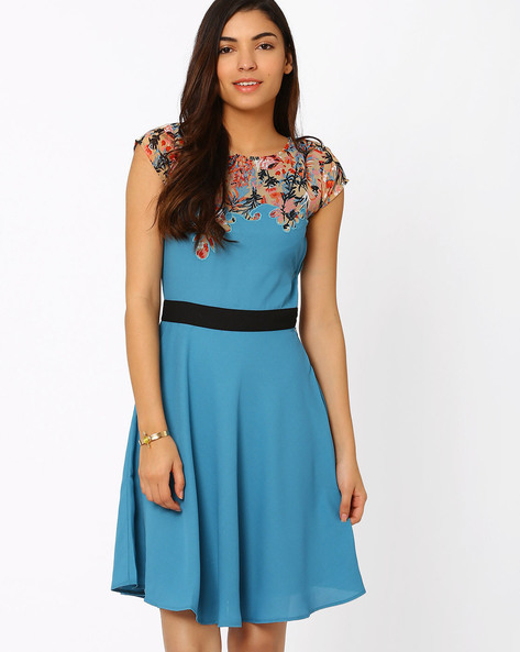 Skater Dress With Printed Yoke By The Vanca ( Blue )