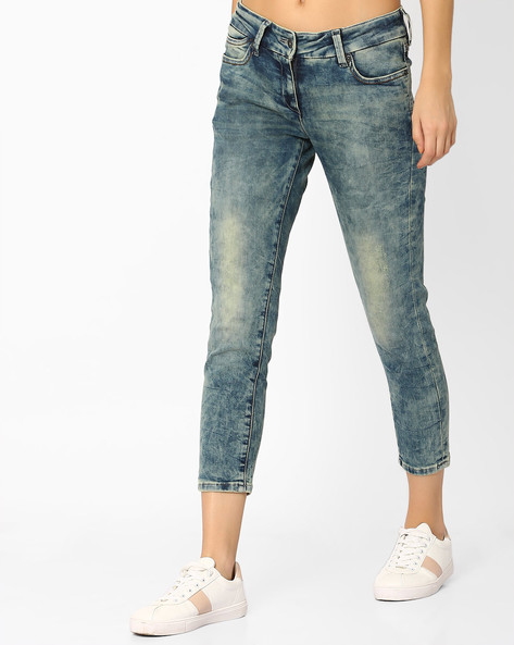 Heavily Washed Skinny Cropped Jeans By Pepe Jeans ( Blue )