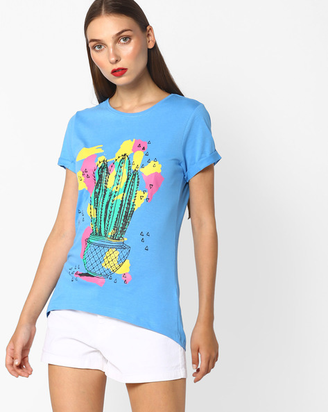 Graphic Printed Crew-Neck T-shirt By Blue Saint ( Blue )