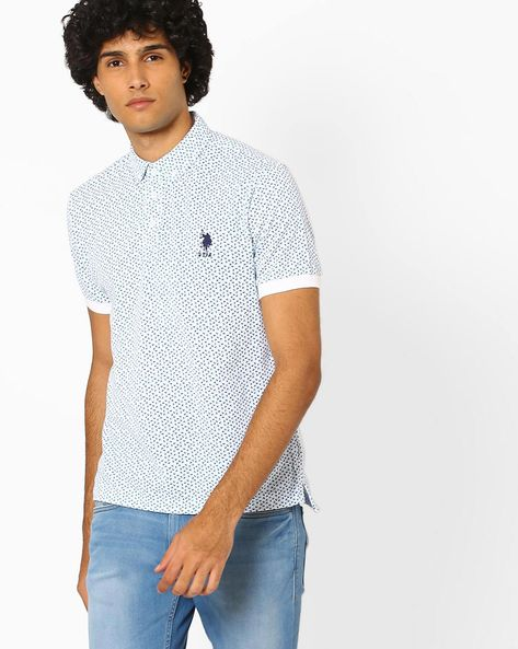 Printed Polo T-shirt With Button-Down Collar By US POLO ( Assorted )