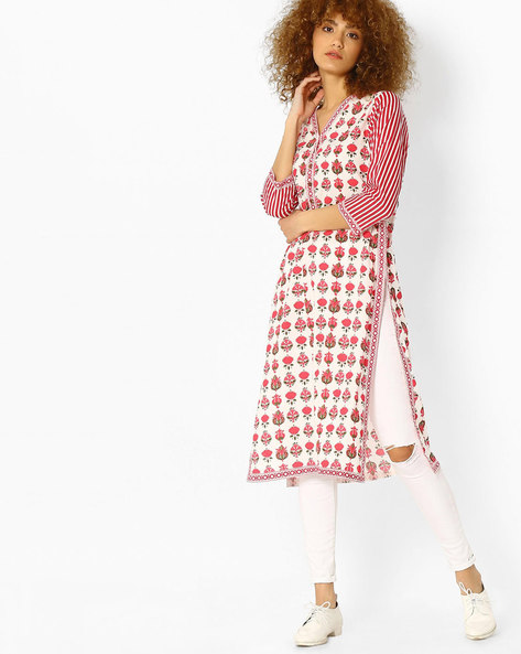 Printed Cotton Straight Kurta By Jiyaa ( Pink )