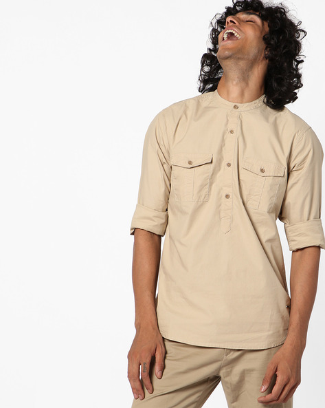 Slim Fit Shirt With Mandarin Collar By AJIO ( Beige )