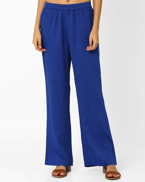 Uri Palazzo Pants By Global Desi ( Blue )