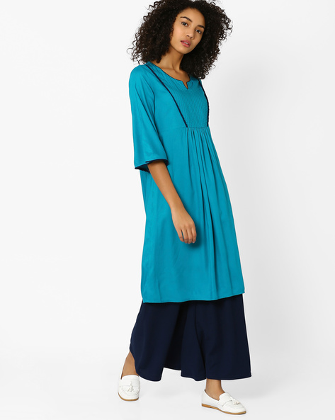 Flared Kurta With Bell Sleeves By AJIO ( Teal )