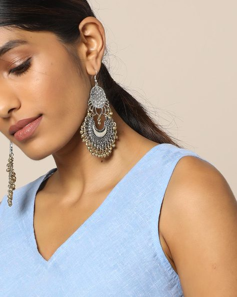 Chandbali Earrings With Beaded Danglers By Indie Picks ( Gold )