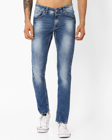 Lightly Washed Tapered Jeans By SPYKAR ( Blue )