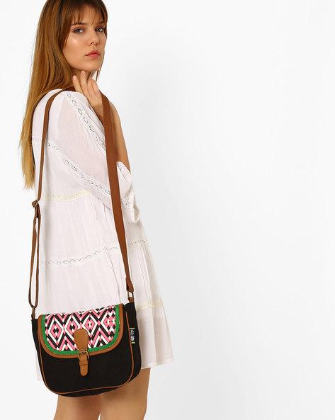 Canvas Sling Bag By Kanvas Katha ( Multicolor )