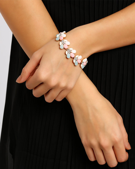 Beaded Charm Bracelet By Style Fiesta ( Gold )