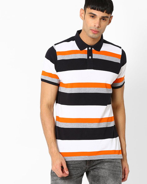 Muscle Fit Striped Polo T-shirt By BASICS ( Grey )