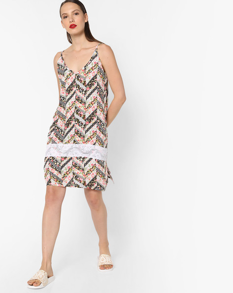 Printed Strappy Night Dress By Heart 2 Heart ( Black )