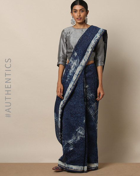 Handblock Indigo Print Chanderi Saree With Zari By Indie Picks ( Indigo ) - 460146822001