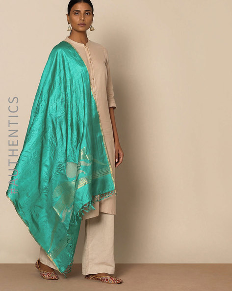Handloom Pure Tussar Silk Jamdani Dupatta By Indie Picks ( Green )