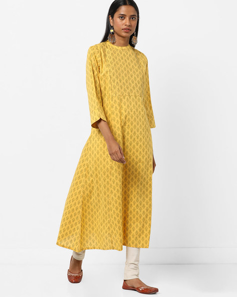 Printed A-line Kurta With Band Collar By ARSHI ( Yellow )