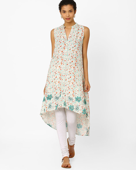 Kurta With Asymmetrical Hem By Biba ( White )