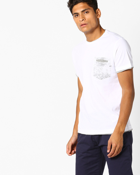 Crew-Neck T-shirt With Contrast Pocket By GAS ( 0001 )
