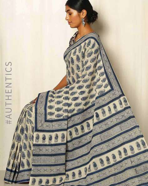 Bagru Handblock Print Cotton Saree By Indie Picks ( Blue )