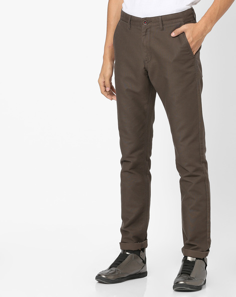 Flat-Front Tapered Chinos By NETPLAY ( Olive )