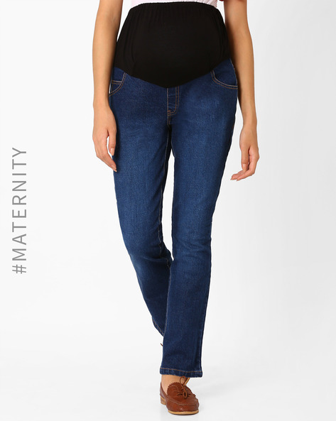 Lightly Washed Maternity Jeans By Preggear ( Blue )