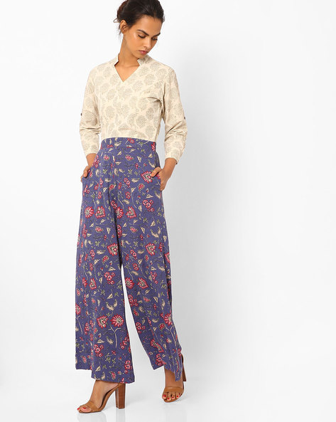 Floral Print Jumpsuit With Mandarin Collar By Vajor ( Purplesilver )