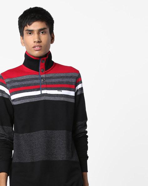 Variegated Stripe High-Neck Sweatshirt By Teamspirit ( Red )