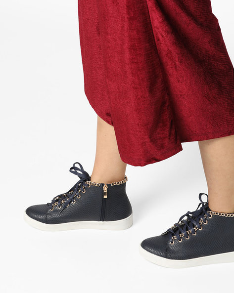 Textured High-Top Lace-Up Shoes By Carlton London ( Navy )