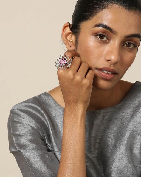 Enamel Brass Oxidised  Ring By Indie Picks ( Multi )