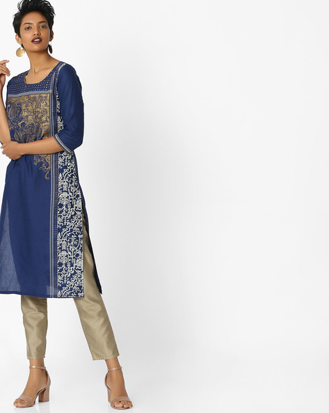 Printed Round-Neck Kurta By AURELIA ( Blue )