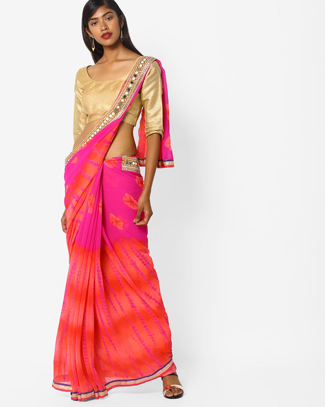 Colourblock Saree With Embellished Border By CHHABRA 555 ( Pink )