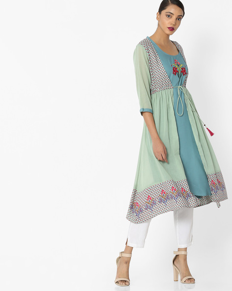 Printed Flared Kurta With Tassel Tie-Up By Arah ( Turquoise )