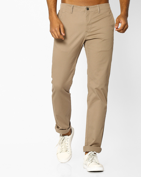 Slim Fit Flat-Front Trousers By INDIAN TERRAIN ( Lightbrowngold )