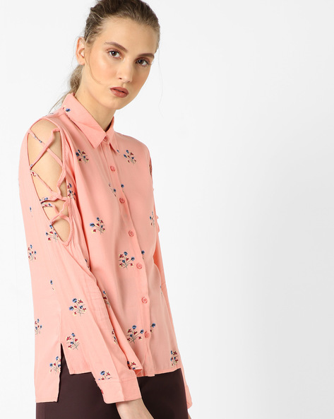 Floral Print High-Low Shirt By Oxolloxo ( Peach )