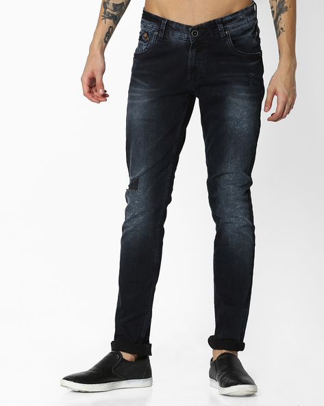 Mid-Washed Skinny Fit Jeans By SPYKAR ( Dkblue )
