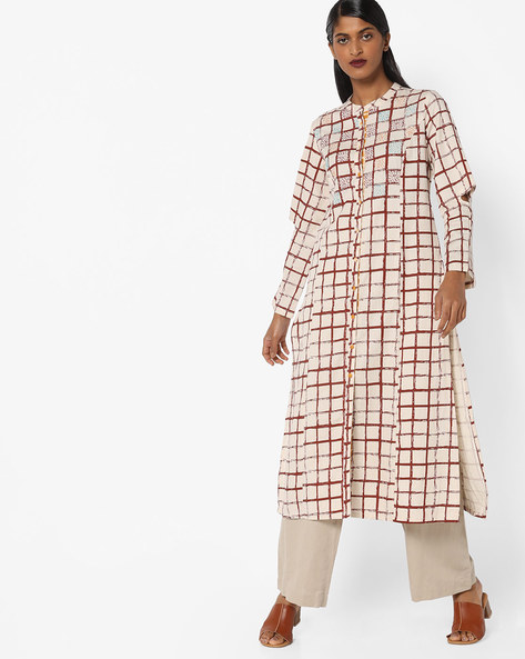 Checked Straight Kurta With Sleeve Cut-outs By AJIO ( Rust )