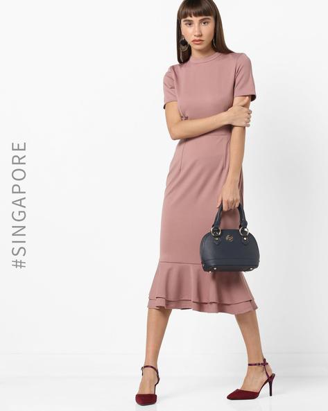 Sheath Dress With Ruffled Hemline By MDS ( Mauve )