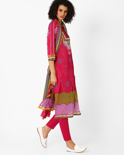 Printed Kurta With Pants And Dupatta By Uptowngaleria ( Pink )