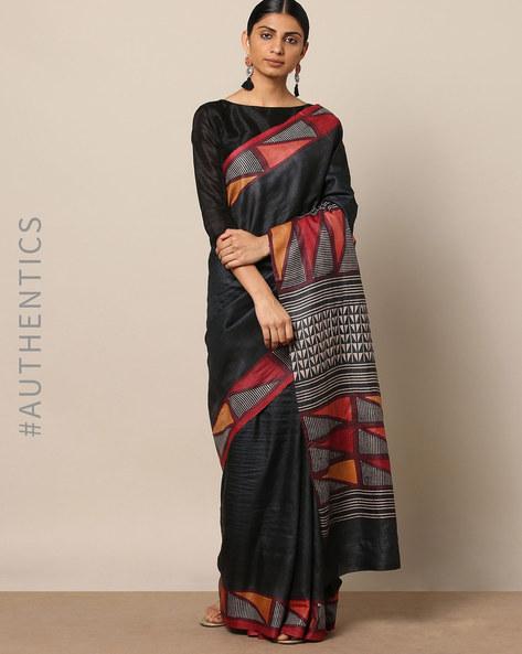Handblock Print Pure Silk Tussar Handloom Saree By Indie Picks ( Multi ) - 460177005001