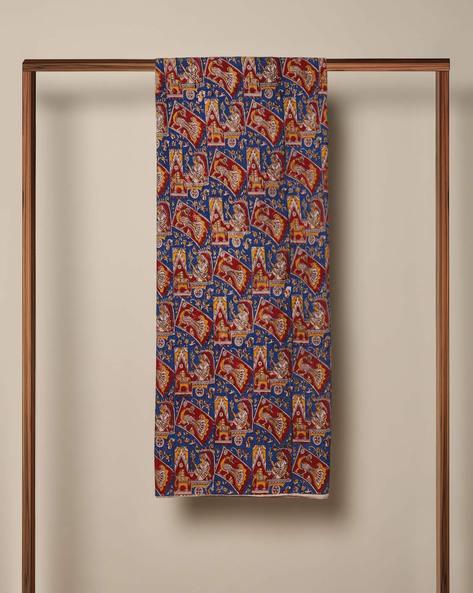 Cotton Printed Kalamkari Kurta Fabric By Indie Picks ( Blue )